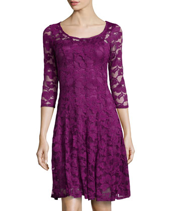 3/4 Sleeve Lace Cocktail Dress, Mulberry