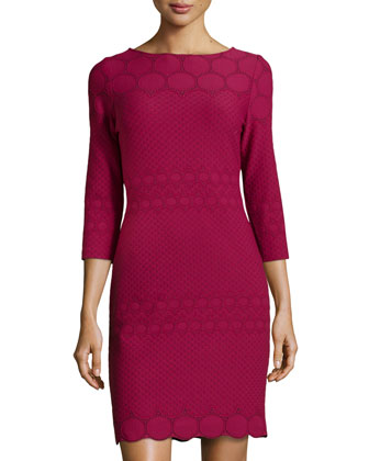 Textured Dotted Knit Sheath Dress, Deep Red