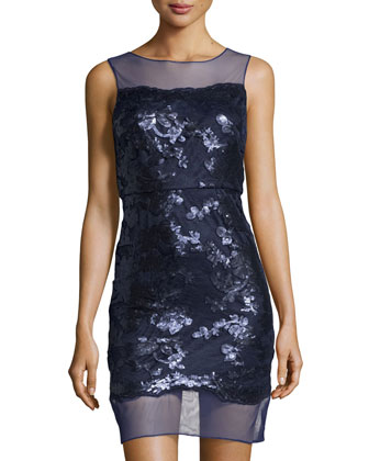 Mesh-Trim Sequined Dress, Navy