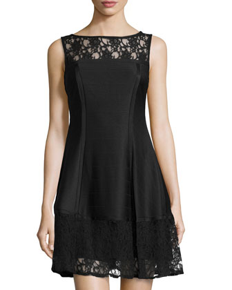Lace-Inset Faille Dress, Black