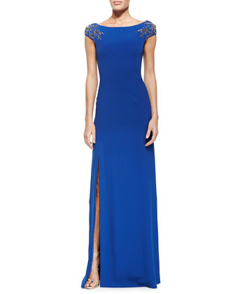 Boat-Neck Gown W/ Beaded Sleeves