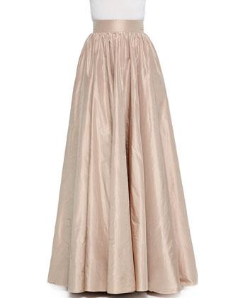 Half-Sleeve Bead-Neck Top & Full Wide-Waist Ball Skirt