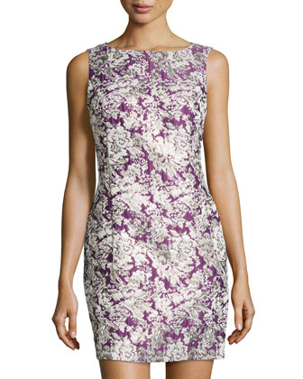 Sleeveless Damask-Print Dress, Bark Boysenberry/Multi