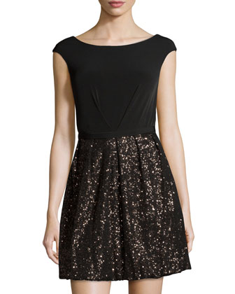 Sleeveless Sequined Cocktail Dress, Black/Multi