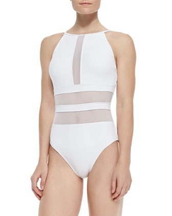 Sheer-Inset One-Piece Swimsuit