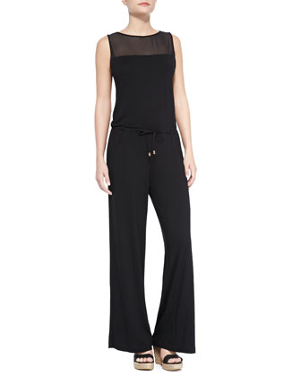 Mesh-Top Jersey Jumpsuit