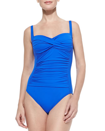 Sweetheart Ruched One-Piece, Cobalt