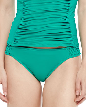 Ruched-Side Hipster Swim Bottom