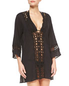 Intuition Crochet-Inset Tunic Coverup