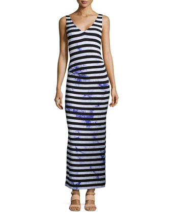 Maxi Splash-Dyed Striped Maxi Dress, Black/Purple