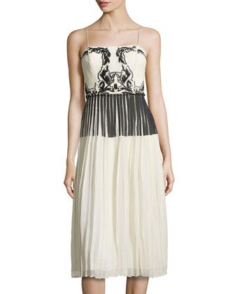 Patterned-Bodice Cocktail Dress, Ivory/Black