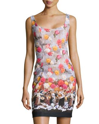 Floral-Print & Historic-Scene Dress, Multicolor