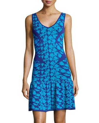 Printed Drop-Waist Sleeveless Sweaterdress, Blue