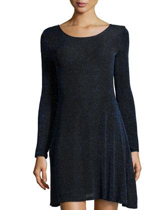 Shimmer Knit Skater Dress, Metallic Blue