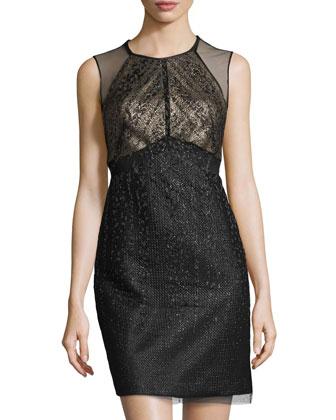 Mesh-Overlay Cocktail Dress, Black/Multi