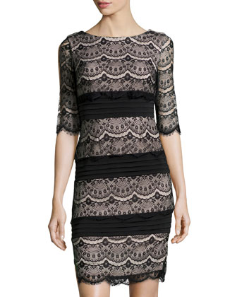 Half-Sleeve Scalloped Lace Dress, Black