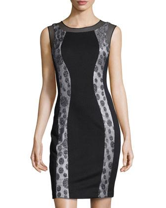 Shimmer Dotted-Lace Scuba Dress, Black