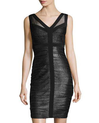 Metallic Jersey Cutout-Back Sheath Dress, Black