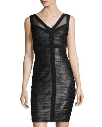 Metallic Jersey Cutout-Back Sheath Dress, Black