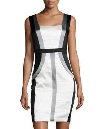 Colorblock Stretch Satin Sheath Dress, Black/Ivory/Gray
