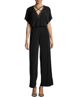 Nailhead Studded Short-Sleeve Jumpsuit, Black
