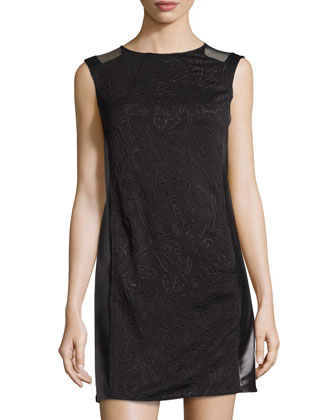Embossed Dress W/ Faux Leather Sides, Black