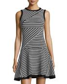 Sleeveless Ottoman-Striped Dress, Ivory/Black