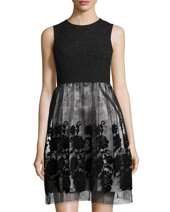 Sleeveless Tulle-Skirt Cocktail Dress, Black