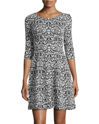 Contrast Jacquard Sweater Dress, Black/Ivory