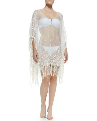 Haveri Sheer Embroidered Fringe Tunic
