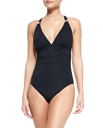 Exotic Gathered Halter One-Piece Maillot