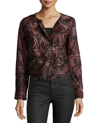 Long-Sleeve Floral Leather Jacket, Burgundy
