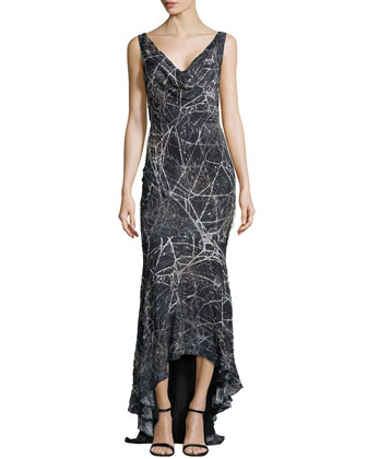 Spiderweb Patterned Evening Gown