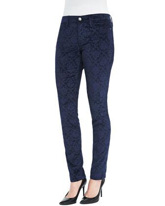 Sophia Damask-Embossed Velveteen Skinny Pants