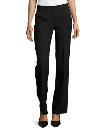 Stretch Wool Flat-Front Trousers
