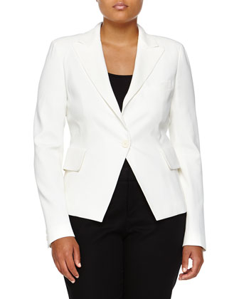 Tuxedo One-Button Jacket, Ivory