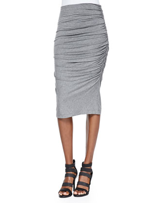 Stitch-Pattern Cropped Sleeveless Top & Gathered Slub Pencil Skirt