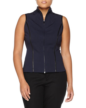 Two-Way Zip Vest with Leather Trim