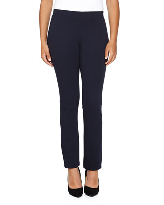 Straight-Leg Back-Seam Pants, Dark Navy