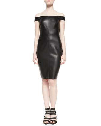 Botswana Faux-Leather Off-The-Shoulder Dress