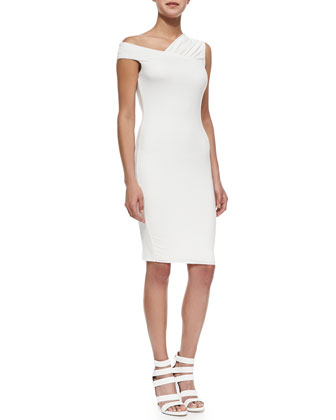Zambia Asymmetric Fitted Jersey Sheath Dress