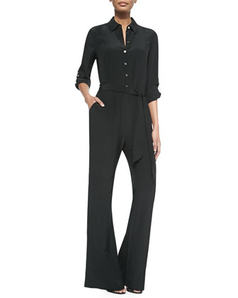 Lori Wide-Leg Silk Jumpsuit