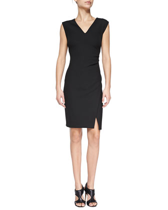 Megan V-Neck Mock-Wrap Sheath Dress
