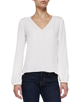 Arlenis Long-Sleeve Silk Top, Ivory
