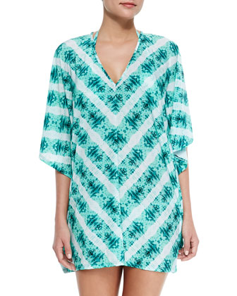 Papyrus-Print Short-Sleeve Coverup