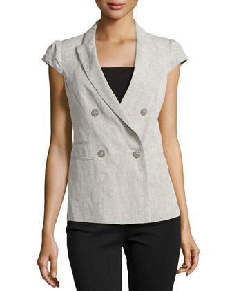 Cap-Sleeve Double-Breasted Jacket, Chord