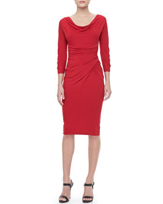 3/4-Sleeve Drape-Front Dress, Scarlet