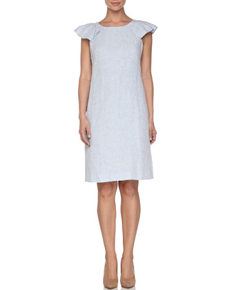 Flutter Cap-Sleeve Linen Dress