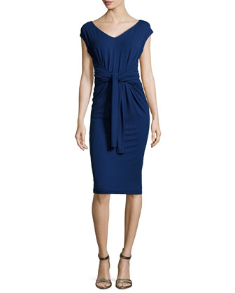 Cap-Sleeve Infinity Jersey Dress, Blue