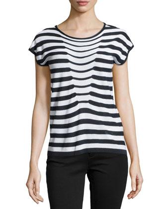 Short-Sleeve Knit Top, Navy/White